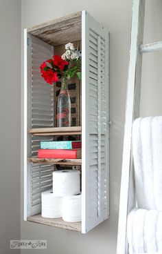 Funky Junk's 2015 Summer Home Junk Tour! - shutter shelf in a bathroom with flowers in a Pepsi Bottle / Funky Junk's 2015 Summer Home Junk T - Furniture Projects, Home Projects, Diy Furniture, Furniture Design, Funky Junk Interiors, Funky Home Decor, Diy Home Decor, Art Decor, Shutter Shelf