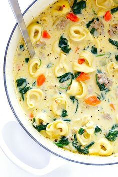 This Creamy Tortellini Soup with Italian Sausage is an absolute WINNER. It's made with a rich and creamy broth (made without heavy cream!), cheesy tortellini, zesty Italian sausage, and lots of greens(Sausage Soup Recipes) Slow Cooker Soup, Slow Cooker Recipes, Cooking Recipes, Cooking Tips, Cooking Lamb, Healthy Soup Recipes, Vegetarian Recipes, Vegetarian Soup, Good Soup Recipes