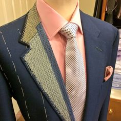 Jacket of 2 halves! Showing the detailed work that goes into 1 of our bespoke handmade jackets. All canvassed with hand padding stitches to create the shape that's needed over the chest.