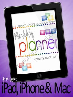 The Ultimate Weekly Planner Numbers Version - Apple and iPad from DragonfliesinFirst on TeachersNotebook.com (270 pages)  - Digital, customizable, ALL weeks in one place, type it once and just fill in the blanks each week teacher lesson plan book for your iPad and iPhone! You can make them on your Mac computer in Numbers and them send them to your iPad and/or iPhone where you