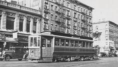 Trolley traffic on Lenox ave.116th st. Harlem
