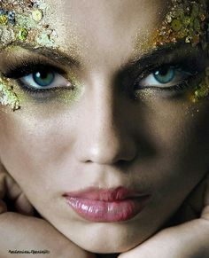 The Enchanted Forest / Fairytale fashion fantasy / karen cox. Gold Glitter Make-up