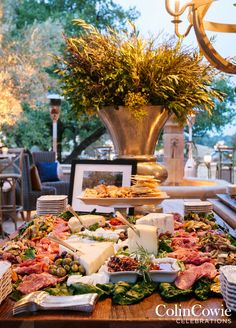 10 Totally Gorgeous Garden Wedding Ideas: Fruit, Cheese & Charcuterie Station. Photo by Colin Miller; Event by Colin Cowie Celebrations