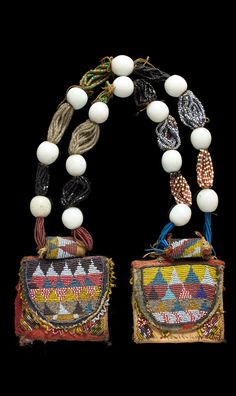Yoruba Diviner's Necklace (odigba ifa) Nigeria. Glass beads, cotton and bead embroidery.