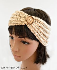 Crochet Headbands Crochet Pattern for Headband, Ear Warmer Turban PDF - Diy Crochet Headband, Bandeau Crochet, Crochet Beanie, Crochet Crafts, Free Crochet, Knit Crochet, Autumn Crochet, Crochet Projects, Crochet Hair Accessories