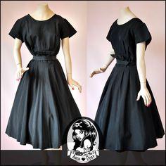 Vintage 1950s Audrey Hepburn Black Taffeta Swing Rockabilly Cocktail Dress 14