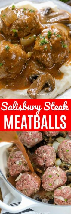 Salisbury steak meatballs are one of our favorite dinners! The salisbury steak g… Salisbury steak meatballs are one of our favorite dinners! The salisbury steak gravy is comes out so flavorful every time! Salisbury Steak Gravy, Homemade Salisbury Steak, Salisbury Steak Meatballs, Meatball Recipes, Meat Recipes, Dinner Recipes, Cooking Recipes, Beef Recepies, Crockpot Recipes