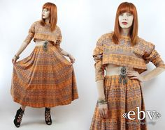 #Vintage #90s Orange #Southwestern Print Crop Top + #Maxi #Skirt, fits S/M/L by #shopEBV http://etsy.me/1rJTgm8 @Etsy #etsy #fashion #style, $85.00