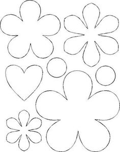 Flower template coloring page Felt Flowers Patterns, Felt Patterns, Applique Patterns, Handmade Flowers, Diy Flowers, Fabric Flowers, Paper Flowers, Bouquet Flowers, Paper Hearts