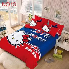 Our hot sale bedding set,Hello Kitty bed set, comfortable bedclothes,Hello Kitty bed duvet cover full, queen king size,3/4 pcs