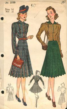 Great 40's hooded jacket. #chic #vintage #gorgeous via vintagepatterns.wikia.com