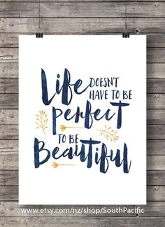 Quote print Life doesn't have to be perfect Printable art ink watercolor typography hand lettering Printable wall art art print navy - handlettering - Watercolor Typography, Art Watercolor, Quote Typography, Brush Lettering Quotes, Hand Lettering Art, Doodle Quotes, Calligraphy Quotes Doodles, Calligraphy Art, Doodle Art