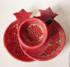Border Embroidery Designs, Ceramic Studio, Jewish Art, Menorah, Ceramic Pottery, Tea Cups, Tableware, Ceramics Ideas, Pomegranates