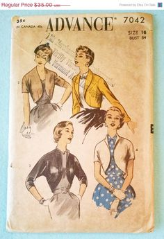 On Sale Vintage Advance 7042 Quick Little Boleros in 4 Styles Sewing Pattern - Size 16, Uncut Factory Folded - 1950s Classic Style $35.00