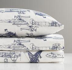 DH: Brandon's Bedroom...sheets from Restoration Hardware kids...vintage airplane blueprint sheet set.