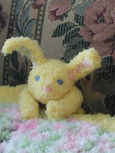 Cuddly soft Easter bunny lovey on Etsy listing at https://www.etsy.com/listing/224640942/yellow-snuggle-softie-bunny-attached-to