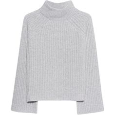 360 SWEATER Baylee Lightgrey // Coarse knit cashmere pullover (1.485 BRL) ❤ liked on Polyvore featuring tops, sweaters, pullover sweater, loose-knit sweater, knit turtleneck sweater, cashmere sweater and bell sleeve tops