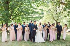 Love the soft color bridesmaids dresses with the dark blue tuxedos! Completed the bride and grooms timeless look!   Cincinnati wedding photographer Amanda Donaho Photography