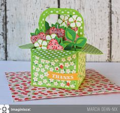 Thanks For Helping Me Grow - Scrapbook.com - Stunning box of flowers/card!
