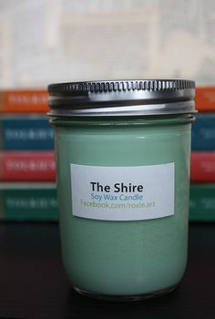 The Shire Soy Wax Candle - The Hobbit -   The Shire is a mix of oakmoss fragrance, clover & aloe, as well as a hint of sweet cherry tobacco. It is refreshing; smells like outdoors in the summer. Kewl.