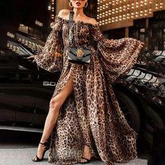 c8a522dc0d Leopard Print Off Shoulder Split Boho Maxi Dress Maxi Dress With Sleeves