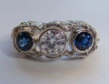 Sumptuous 1.58 Carat Three Stone Diamond & Sapphire Ring