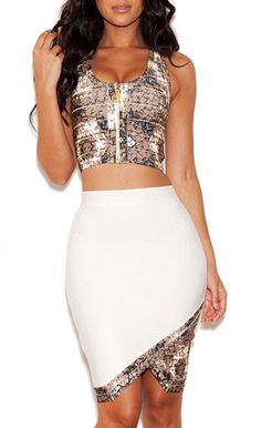 White and Taupe Printed Bandage Two Piece Skirt Set $119.99