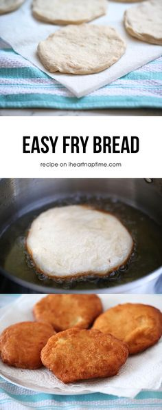 Easy Fry Bread ~ use refrigerator biscuits (Don't forget to  make a small hole in the middle with your finger for even frying)