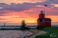 Big Red Lighthouse Photo, Holland Michigan Photo, Lighthouse Photo, Lighthouse Sunset Print, Ottawa Beach SP, Lighthouse Photo Art by KenCavePhotography on Etsy
