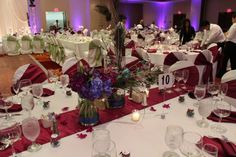 Peacock themed centerpieces at the Marriott Schaumburg Wedding Light Purple, Green And Purple, Event Lighting, Chicago Wedding, Wedding Centerpieces, Special Events, Peacock, Entertainment, Lights
