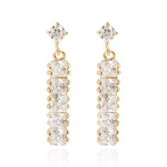 3x0.6cm Chic 18K Gold Plated Copper Long Earring Stud Inlaid White Zircon Ladies Earrings