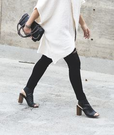 black ripped jeans, Vince Faye sandals
