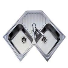 Hema Corner Kitchen Sink 2 0 Double Bowl Drainer Satin Steel