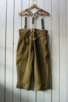 Vintage Military Army Green Suspender Japanese Indigo Patchwork WorkWear Pants | eBay