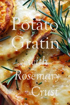 Potato Gratin with Rosemary Crust~ A perfect side for fall or #Thanksgiving that marries Yukon Gold and sweet potatoes in a double crust layered with rosemary and Gruyere cheese. Try to save room for ham or turkey!