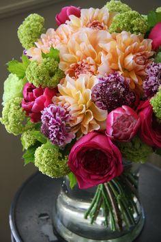 Dahlias, roses, and scabiosa, oh my!
