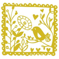 Chickadee bird paper cut screen print  mustard by PinkParakeet, £15.00