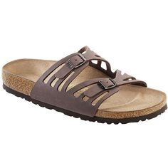 Birkenstock Women's Granada Sandal ($95) ❤ liked on Polyvore featuring shoes, sandals, cork footbed shoes, traction shoes, lightweight shoes, birkenstock sandals and cork sandals