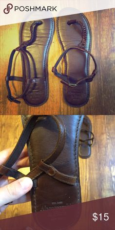Abercrombie & Fitch T-Strap Sandals Only worn once before so these are still in perfect condition! They are a size Large which is equivalent to a size 9 or 10 I would say. Abercrombie & Fitch Shoes Sandals