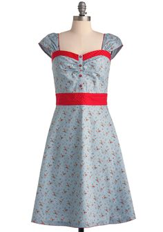 Strawberry Cobbler Dress - Long, Blue, Red, Multi, Floral, Buttons, Cap Sleeves, Rockabilly, Vintage Inspired, White, Polka Dots, Scallops, 50s, A-line