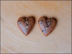 Duo of hand carved wooden heart pendant by SylvestrisCraftworks