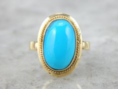 18K Gold Late Art Deco Ring with Fine Turquoise