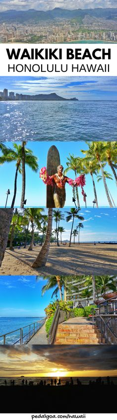 Waikiki Beach, Honolulu, Hawaii. Things to do in Waikiki for free. Beaches, snorkeling spots in Oahu Hawaii. For US beaches in Hawaii, activities on Waikiki Beach! Best Oahu beaches give things to do in Oahu near hiking trails, food, shopping, fun for kids, families. USA travel destinations, bucket list world adventures when on a budget with Hawaii vacation ideas! Add to itinerary in Honolulu! Add snorkeling gear to Hawaii packing list, what to wear in Hawaii to beach. #waikiki #oahu #hawaii