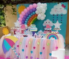 Rain of love party: the decoration for this birthday - Fashion Parties - Rain of love party: the decoration for this birthday – Fashion Parties - Rainbow Parties, Rainbow Birthday Party, Unicorn Birthday Parties, Baby Birthday, First Birthday Parties, Girl Parties, Balloon Decorations, Birthday Party Decorations, Gateau Baby Shower