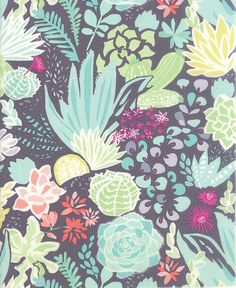 Inspired by the high mesa, Canyon from Kate Spain and Moda is ablaze with lush colors, hand-drawn and painted patterns of desert blooms,