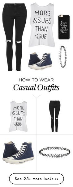 """""""Casual~"""" by x-dreamcatcher-x on Polyvore featuring Topshop, Converse and Casetify"""
