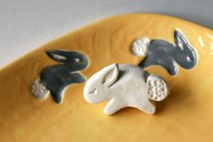 Stamp for Pottery, Jumping Bunny Rabbit, Tool for Ceramics, Polymer Clay, Kids and Children