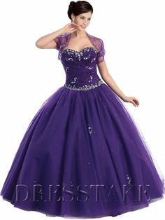 Allure Ball Gown Sweetheart Floor-length Organza Purple Quinceanera Dresses