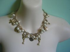 Vintage dangle necklace with faux pearls sea shells by PocoKiko, $39.00