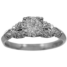 1930s .75 Carat Diamond Platinum Engagement Ring 1